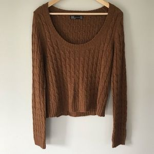 Zara Brown Cableknit Scoop Neck Sweater Fall Trend